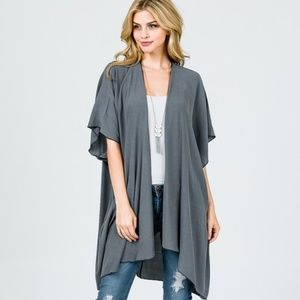 Sweaters - Lightweight Solid Open Front Cardigan